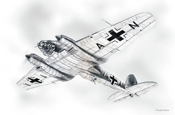 Drawing - Heinkel He111 H-2 by Douglas Castleman