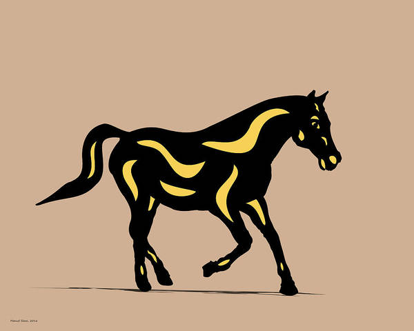 Digital Art - Heinrich - Pop Art Horse - Black, Primrose Yellow, Hazelnut by Manuel Sueess