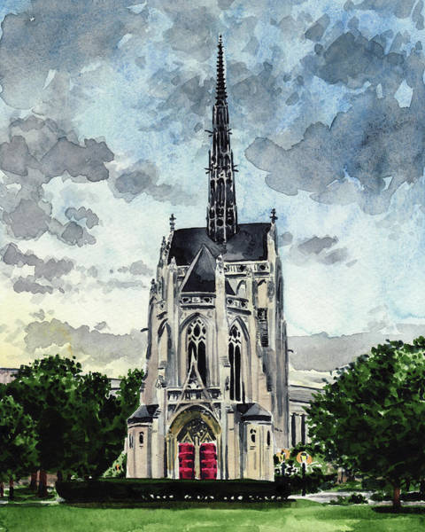 College Campus Painting - Heinz Chapel University Of Pittsburgh Pennsylvania Architecture Wedding Cathedral Of Learning Pitt by Laura Row
