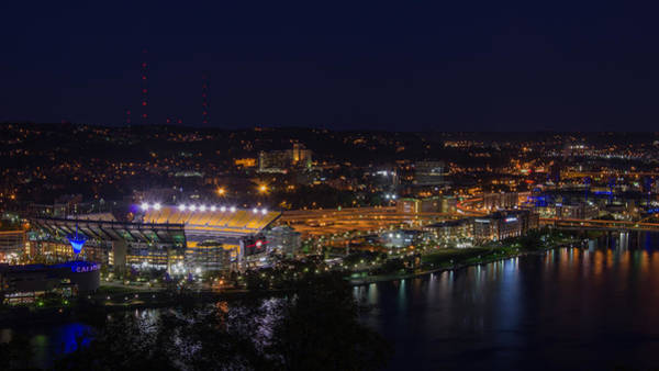 Photograph - Heinz Field At Night From Mt Washington by Lori Coleman