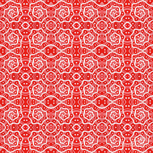 Mixed Media - Helices In Red And White by Julia Khoroshikh