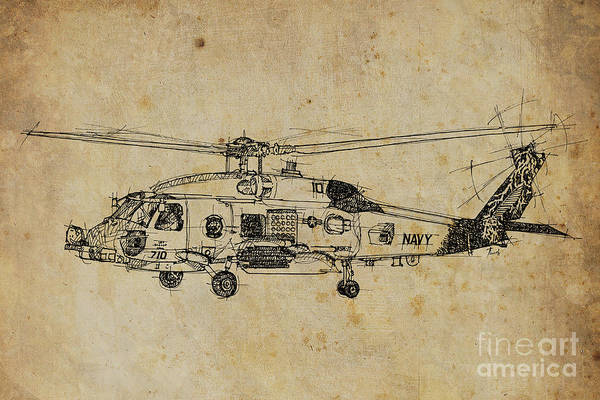 Plane Drawing - Helicopter 01 by Drawspots Illustrations