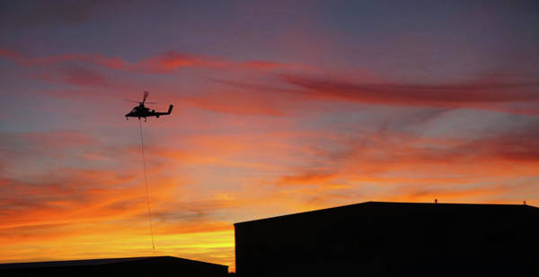Wall Art - Photograph - Helicopter And The Sunset by Angi Parks