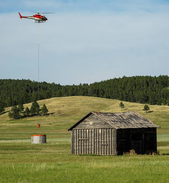 Photograph - Helicopter Dips Water At Heliwell by Bill Gabbert