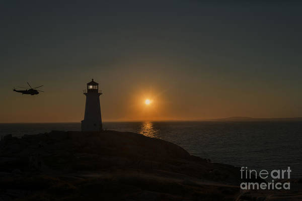 Photograph - Helicopter Flying Past Lighthouse At Peggy's Cove Nova Scotia by Dan Friend