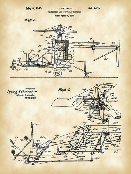 Patent Drawing Wall Art - Digital Art - Helicopter Patent 1940 - Vintage by Stephen Younts