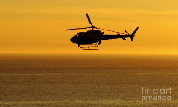 Copter Photograph - Helicopter Sunset by Marc Bittan