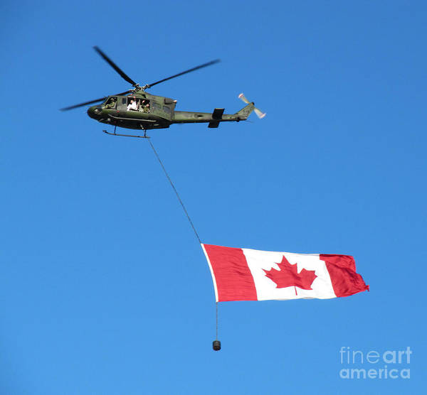 Photograph - Helicopter With Canadian Flag by Donna L Munro