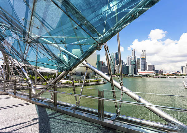 Photograph - Helix Bridge In Singapore In The Marina Bay On A Sunny Day.  by Didier Marti