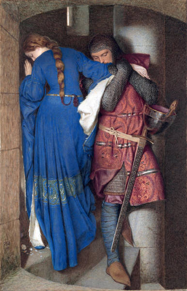 Wall Art - Drawing - Hellelil And Hildebrand Or The Meeting On The Turret Stairs by Frederic William Burton