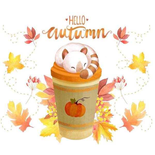 Maple Drawing - Hello Autumn by Little Bunny Sunshine