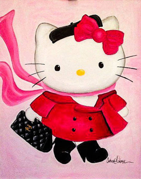 Hello Kitty Wall Art - Painting - Hello Fancy by Catherine  Carbone