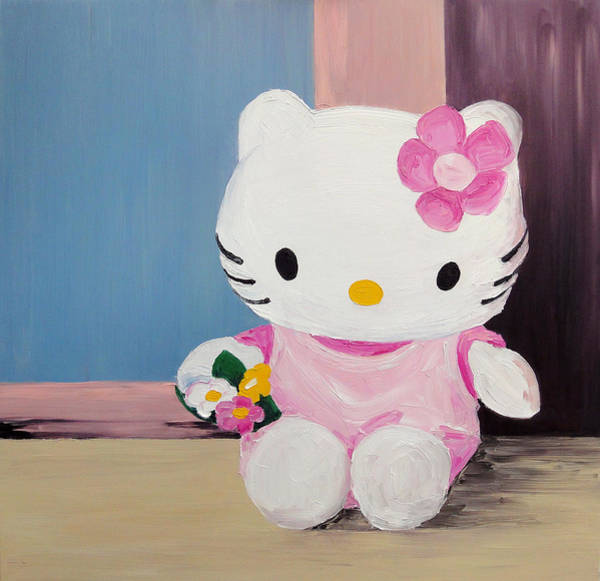 Hello Kitty Wall Art - Painting - Hello Kitty At The Window by Barbara Pommerenke