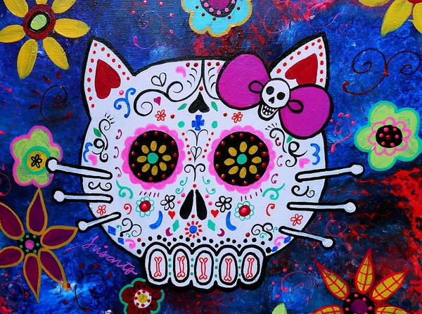 Wall Art - Painting - Kitty Day Of The Dead by Pristine Cartera Turkus