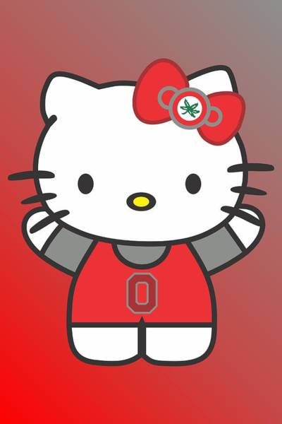 Scoreboard Digital Art - Hello Kitty - Ohio State by Troy Arthur Graphics
