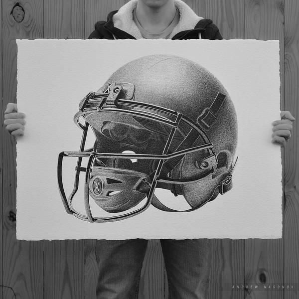 Super Bowl Drawing - Helmet by Andrew Nasonov