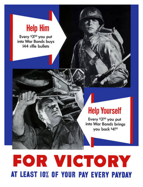 Ww2 Painting - Help Him Help Yourself  by War Is Hell Store