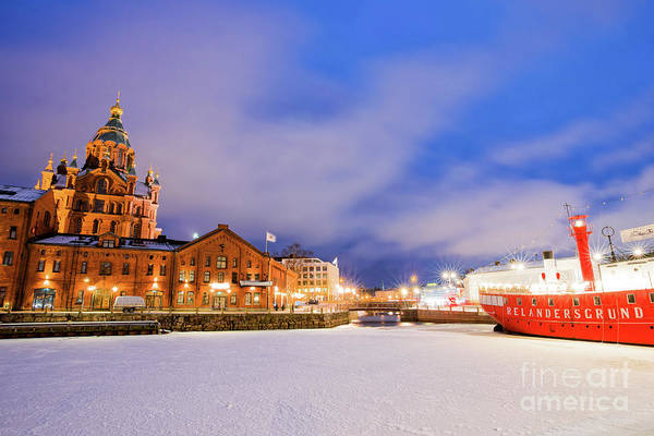 Finnish Photograph - Helsinki By Night by Delphimages Photo Creations