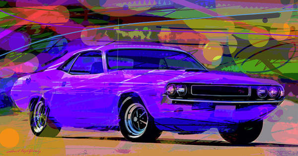 Painting - Hemi Challenger Plum Crazy by David Lloyd Glover