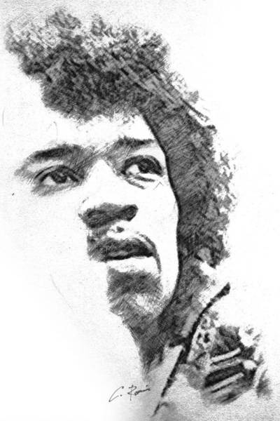 Drawing - Hendrix by Charlie Roman