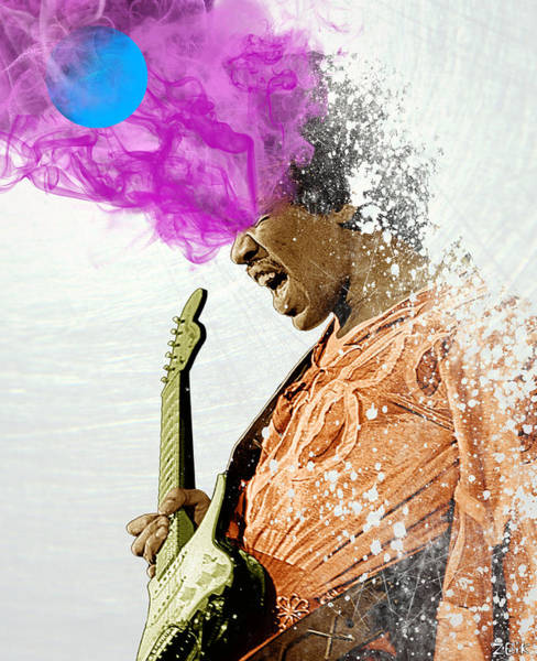 Wall Art - Digital Art - Hendrix - Off To Neptune by Bobby Zeik