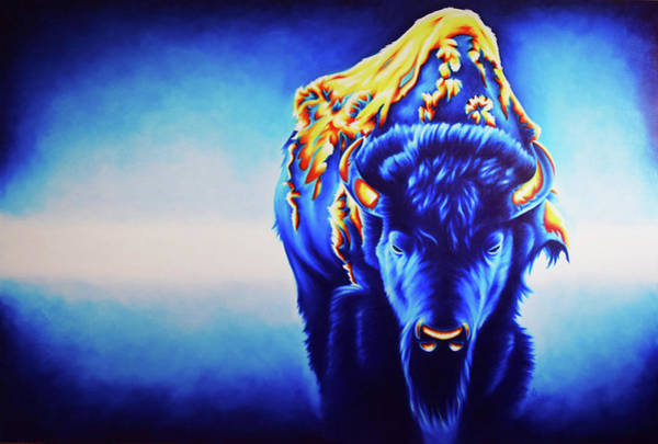 Native American Blanket Painting - Heneecee Buffalo Bull by Robert Martinez