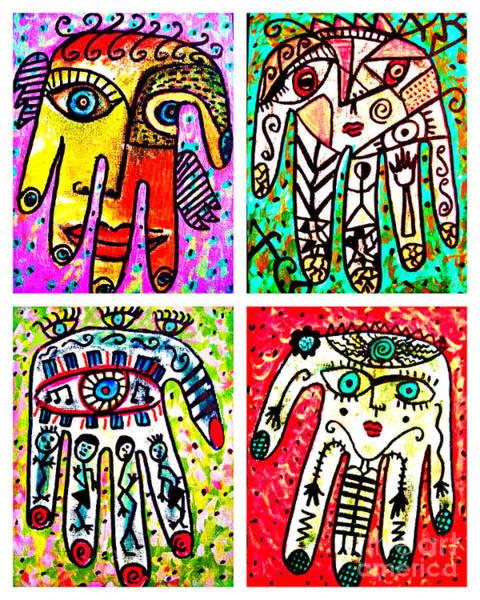 Painting - 0 Henna Spirit Hands by Sandra Silberzweig