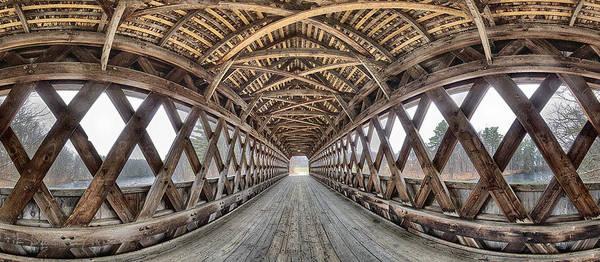 Henniker Photograph - Henniker Covered Bridge Interior Pano by Scott Snyder