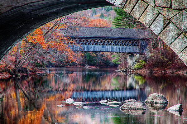 Photograph - Henniker Covered Bridge Late Autumn by Jeff Folger