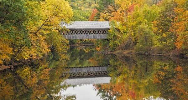 Henniker Photograph - Henniker New Hampshire Covered Bridge In Fall Foliage by Scott Snyder
