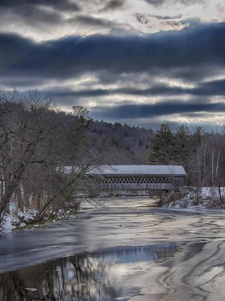 Henniker Photograph - Henniker, Nh Covered Bridge In Winter by Scott Snyder