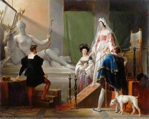 Wall Art - Painting - Henri II And Diane De Poitiers In The Studio Of Jean Goujon by Alexandre-Evariste Fragonard