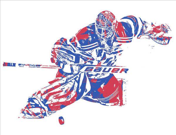 Wall Art - Mixed Media - Henrik Lundqvist New York Rangers Pixel Art 2 by Joe Hamilton