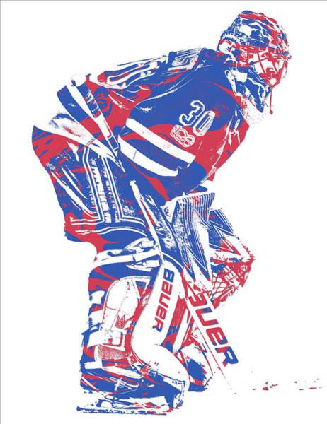 Wall Art - Mixed Media - Henrik Lundqvist New York Rangers Pixel Art 3 by Joe Hamilton