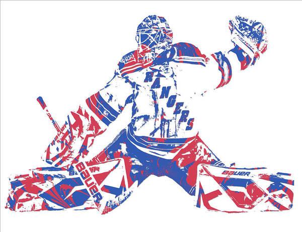Wall Art - Mixed Media - Henrik Lundqvist New York Rangers Pixel Art 6 by Joe Hamilton