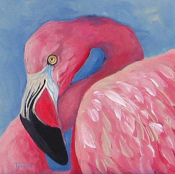 Bird Wall Art - Painting - Henry - The Flamingo by Torrie Smiley