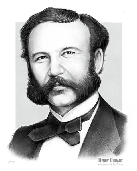 Red Drawing - Henry Dunant by Greg Joens