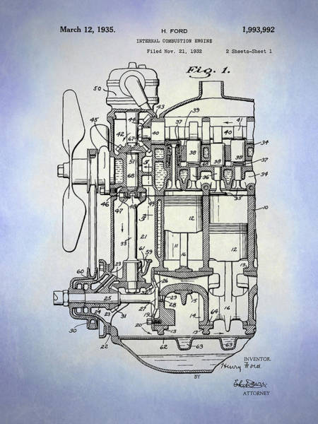 Digital Art - Henry Ford Engine Patent Sh1 Blue by David King