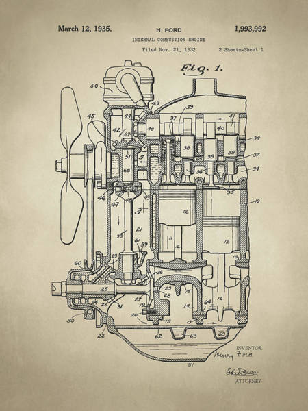 Digital Art - Henry Ford Engine Patent Sh1 Sepia by David King