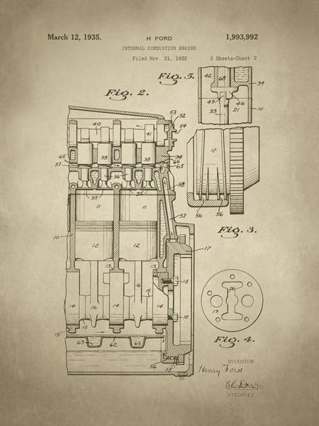 Digital Art - Henry Ford Engine Patent Sh2 Sepia by David King