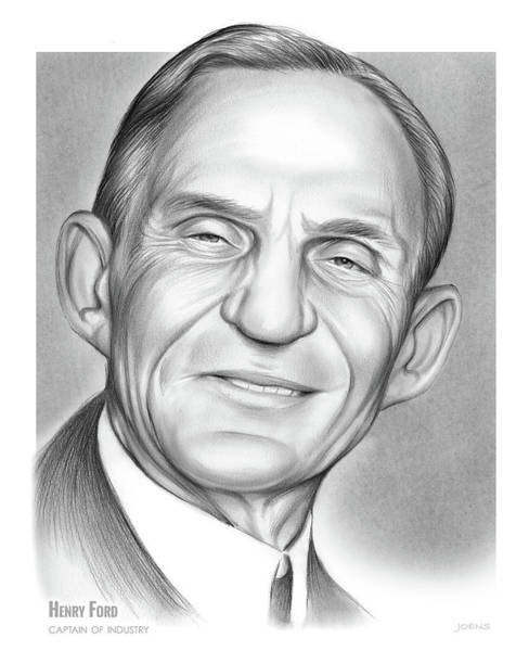 Automobile Drawing - Henry Ford by Greg Joens