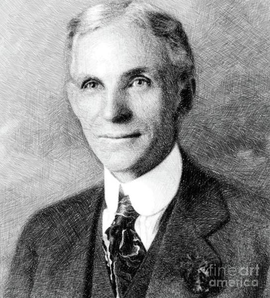 Ford Drawing - Henry Ford, Inventor By Js by John Springfield