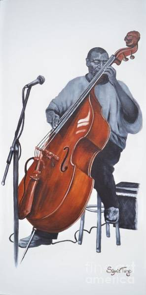 Painting - Blaa Kattproduksjoner           Henry Franklin On Bass by Sigrid Tune