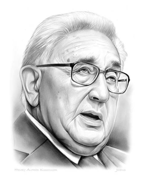 Wall Art - Drawing - Henry Kissinger by Greg Joens