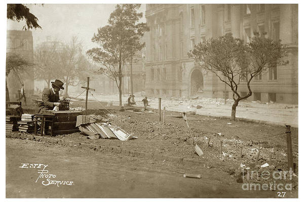Photograph - Henry Lafler Reporter At Typewriter In Portsmouth Square After April 18, 1906 by California Views Archives Mr Pat Hathaway Archives