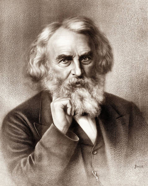 Wall Art - Drawing - Henry Wadsworth Longfellow - American Poet by War Is Hell Store