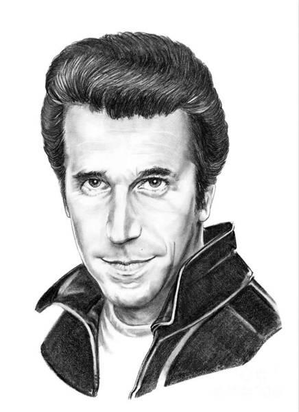 Famous People Drawing - Henry Winkler The Fonz by Murphy Elliott