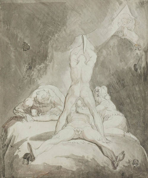 Drawing - Hephaestus Bia And Crato Securing Prometheus On Mount Caucasus by Henry Fuseli