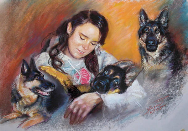 With Wall Art - Pastel - Her Best Friends by Ylli Haruni