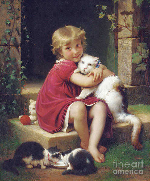 Snuggle Painting - Her Favorite Pet by Leon Bazile Perrault